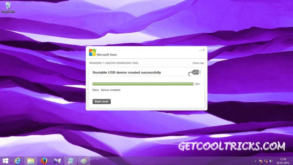Close the tool and start the Installation process