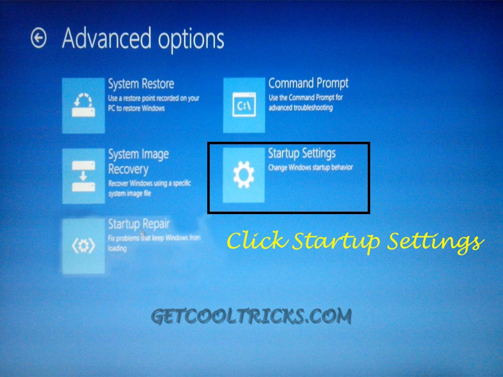 Click Startup Settings