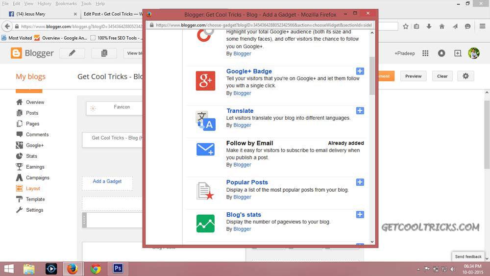 Adding Gadget in Blogger