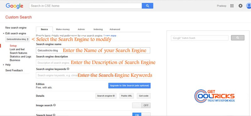Creating Google Custom Search Engine - Get Cool Tricks