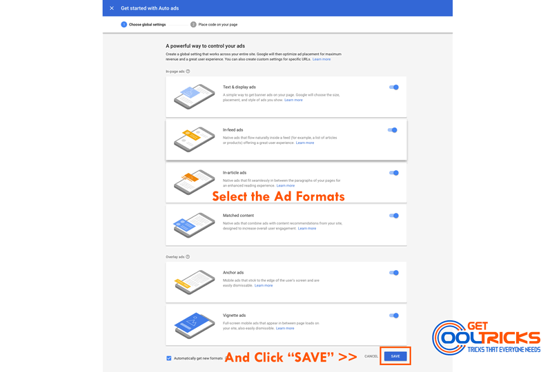 Select the Auto Ad formats and click SAVE
