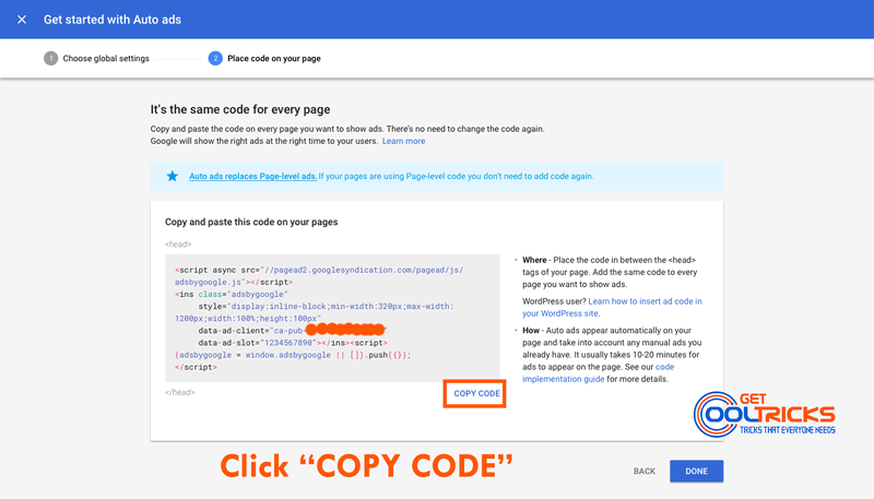Click Copy Code to copy the Auto Ad code