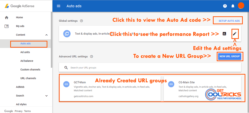 Auto Ad Advanced Settings page