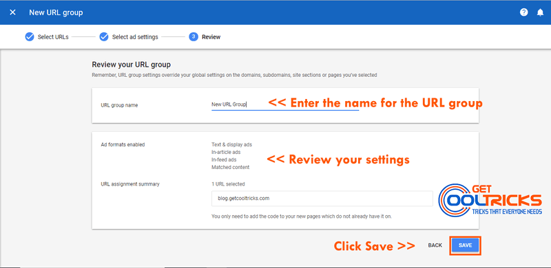 Name your Auto Ad URL Group and click Save