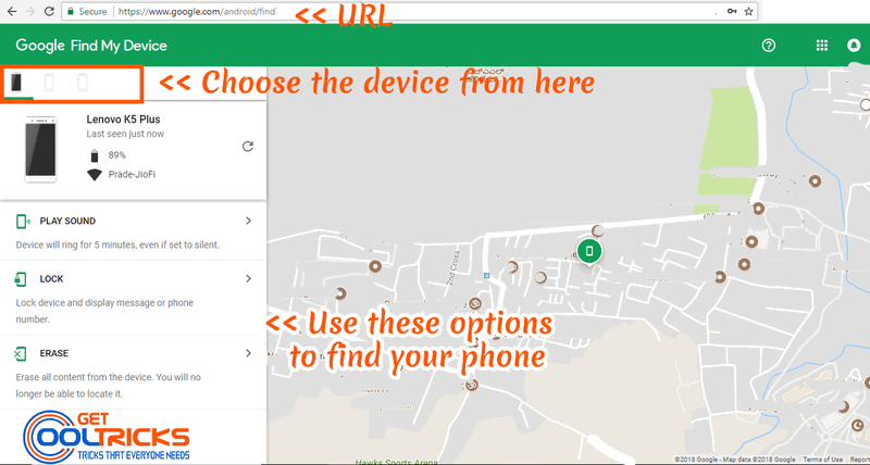 Use the Find Android Web Interface to find the Stolen Phone