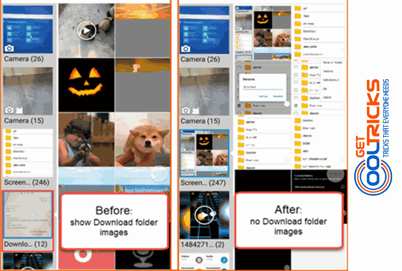 Compare Gallery before and after hiding image folders