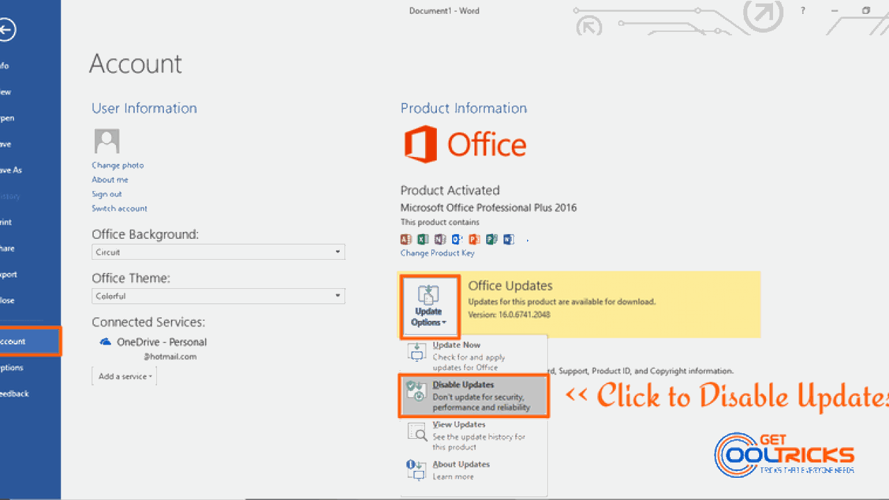 How to enable and disable auto updates in Microsoft Office 2016