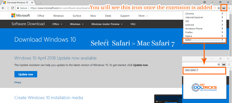 Click the User agent icon and select safari to Download Windows 10 ISO