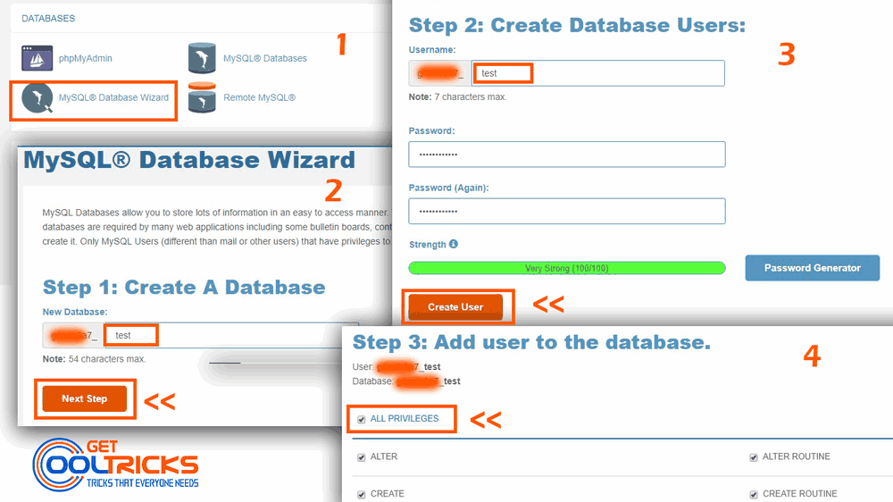 Go through the Database Wizard to create a Database and its user